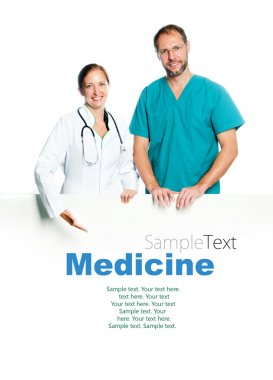 Doctors holding a white blank board with sample text stock vector