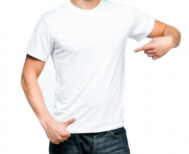White t-shirt on a young man isolated. Ready for your design stock vector