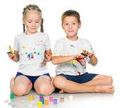 lány és fiú festés