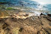 skalní rytiny na pláži