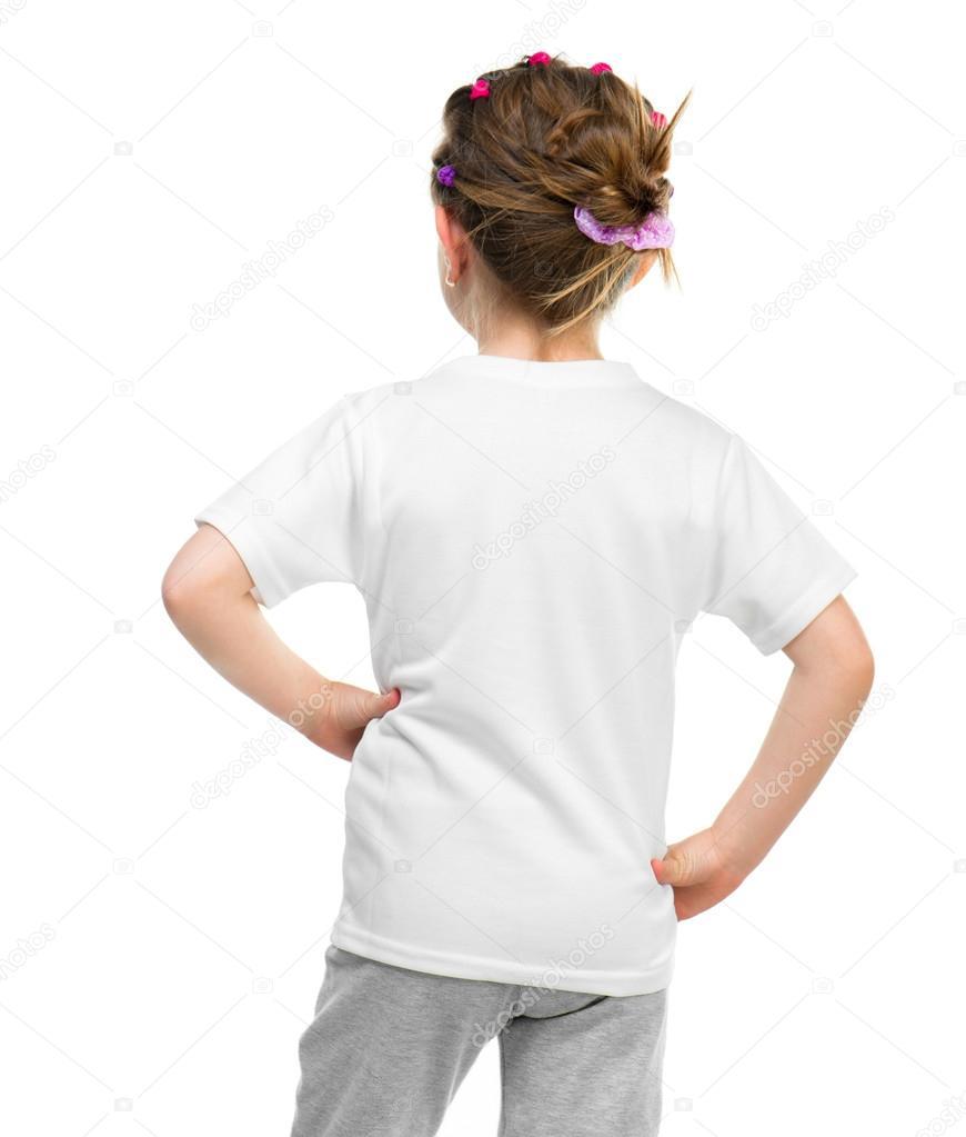 6fceb2b7a Niña en camiseta blanca — Fotos de Stock © GekaSkr #26076409