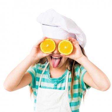 little girl with orange