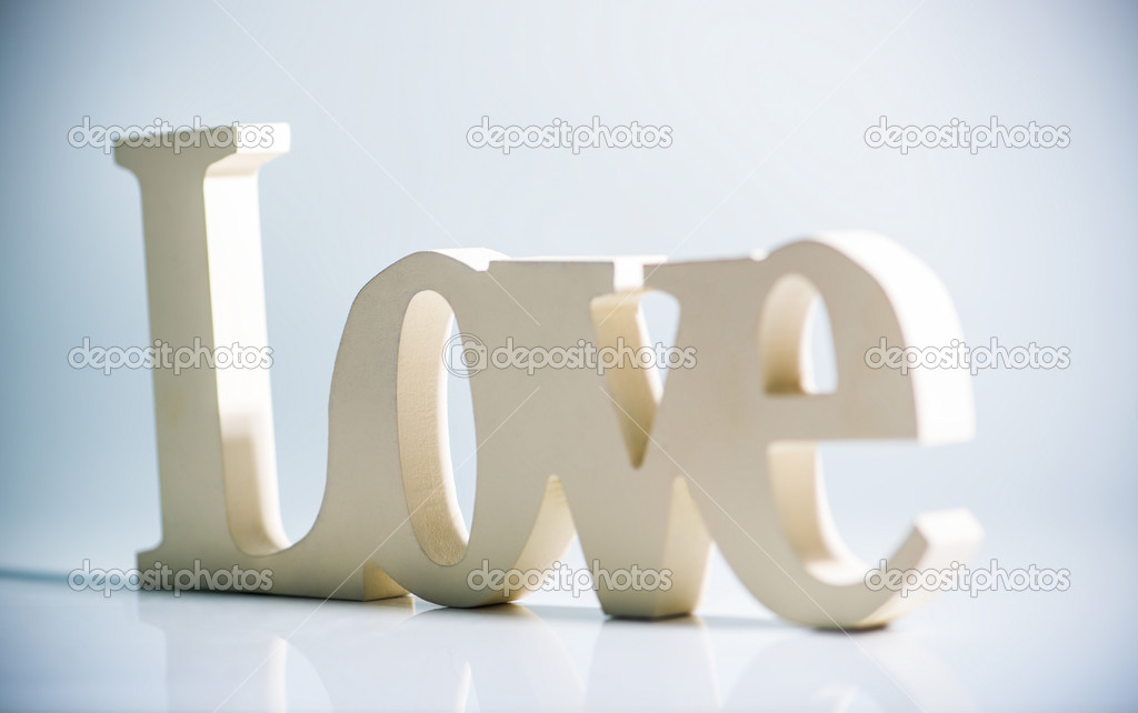 The word love with reflection stock vector