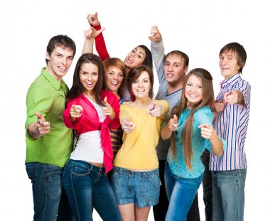 Group of smiling young people with a raised thumb