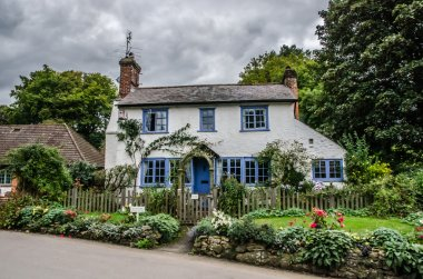 Blue and white traditional english cottage