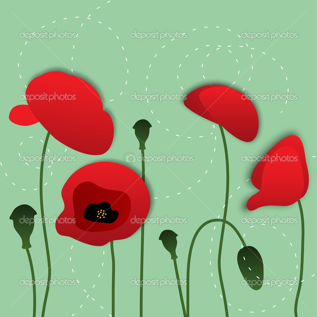 Vector Paper Poppy Flowers Floral Background Stock Vector
