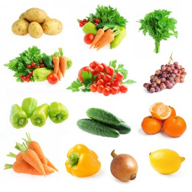 Collection of fresh vegetables and fruits isolated