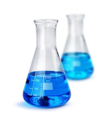 Two labotatory glass beakers with liquid samples