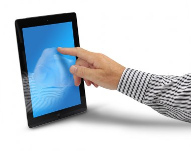 Male hand touching tablet computer display, isolated on white background stock vector
