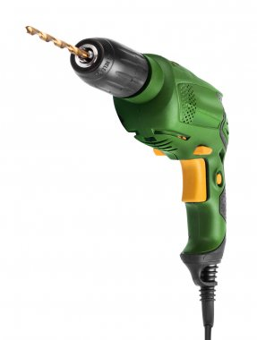 Electric drill front isolated on white