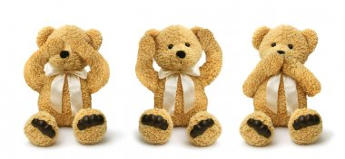 Teddy bears see hear speak no evil