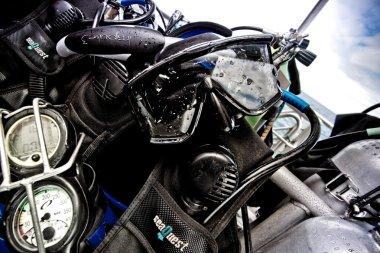 Close up shot of scuba diving equipment