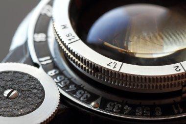 Retro camera lens close-up.