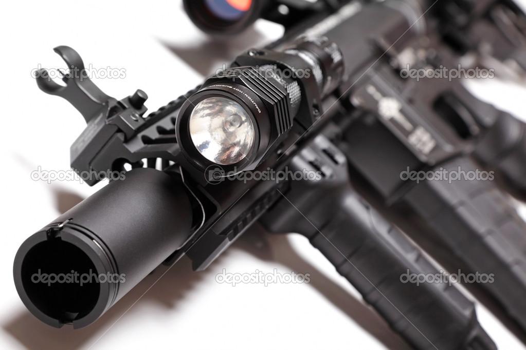 Partie D Ar15 Carabine Avec Lampe Tactique Photographie Ultraone