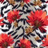 Fotografia pelle di tigre con fiori tropicali