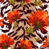 Fotografie Tiger skin with tropical flowers