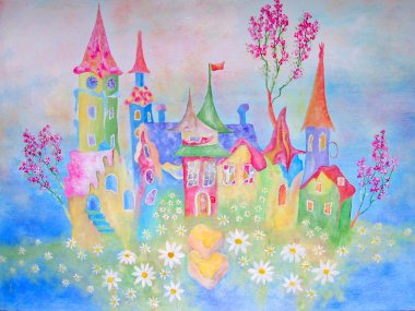Painting of dream baby city with flowers and feiry tale buildings.