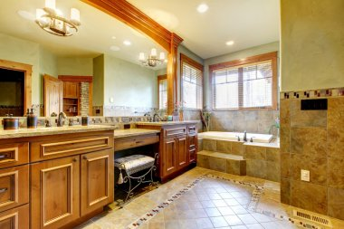 Luxury large master bathroom in mountain home.