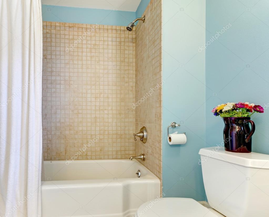 blauwe badkamer met bad en douche — Stockfoto © iriana88w #16805761