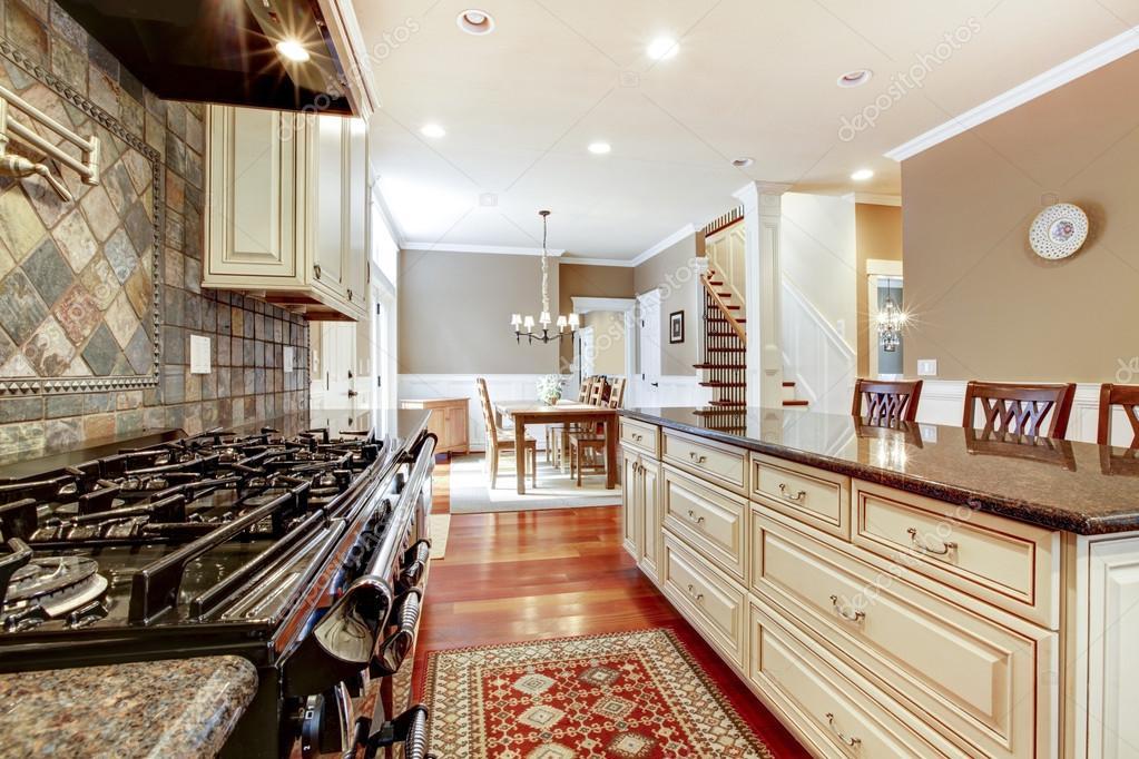 Cucina di lusso bianco con pietra stufa di grandi piastrelle