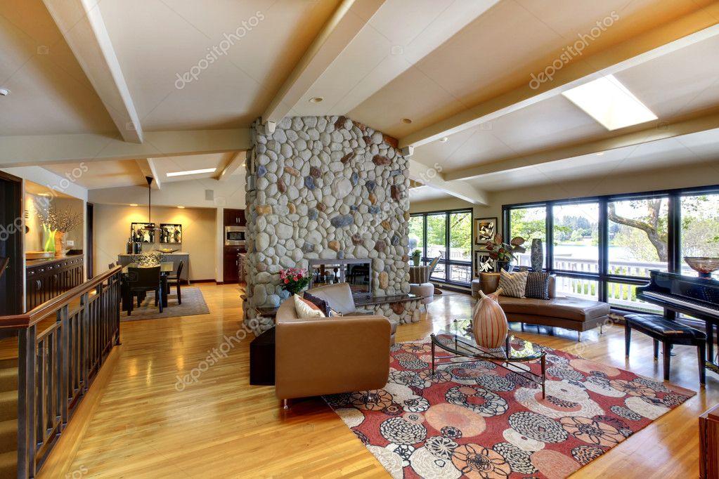 luxe moderne maison intérieur salon et cuisine ouverte ...