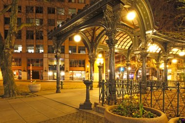 Pioneer square in Seattle at early spring night. Empty street.