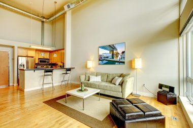 Modern loft apartment living room interior with kitchen.