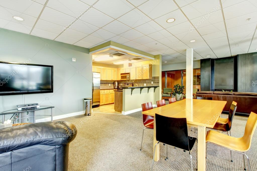 Apartment building modern living room with kitchen general area ...