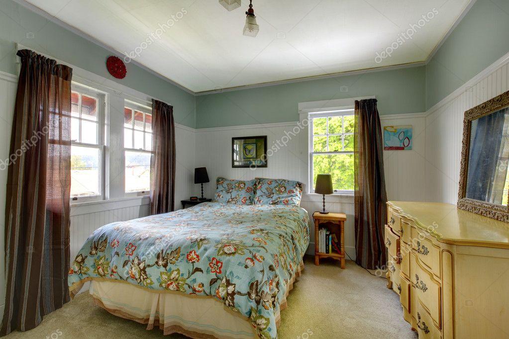 Schlafzimmer Einrichtung Mit Blau Und Braun U2014 Stockfoto