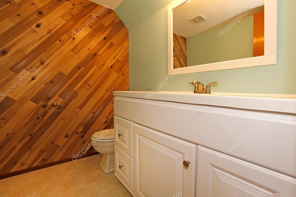 Hellen Tönen Badezimmer Mit Holzwand Und Olive Wand U2014 Foto Von Iriana88w