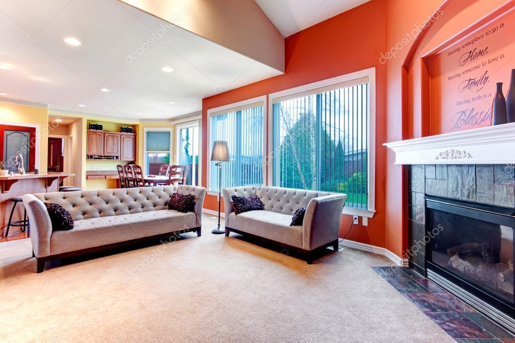 helder oranje kleurenschema voor woonkamer — Stockfoto © iriana88w ...
