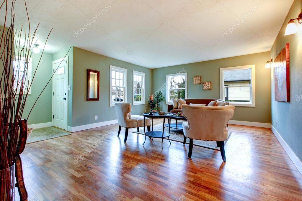 Grande stanza luminosa con pareti verdi e pavimenti in for Stanza sopra i piani del garage