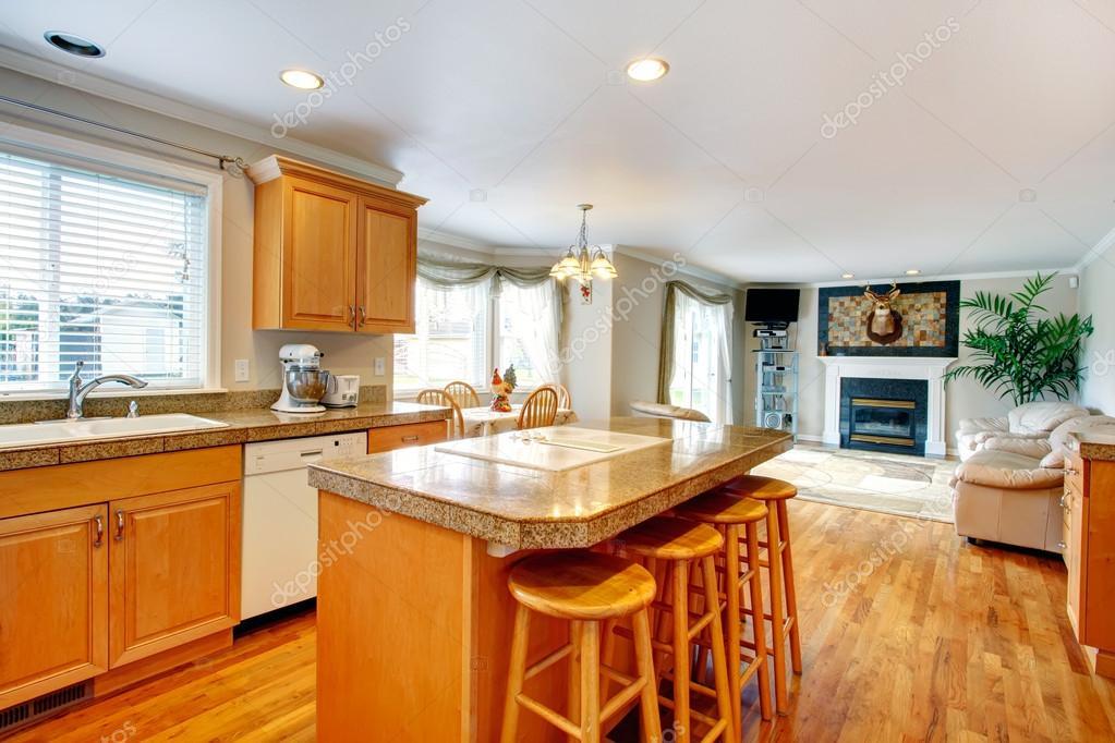 Abrir la idea del dise o de sala de estar y cocina con for Sala de estar y comedor