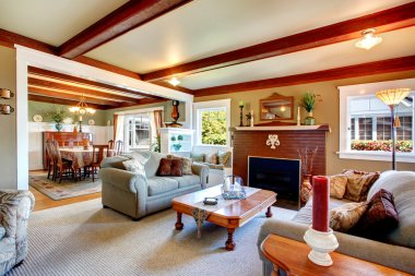 Elegant antique style living room with dining area