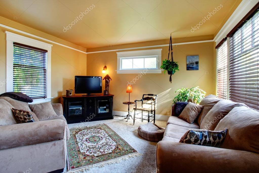 Gemutliches Wohnzimmer Mit Couch Und Tv Stockfoto C Iriana88w