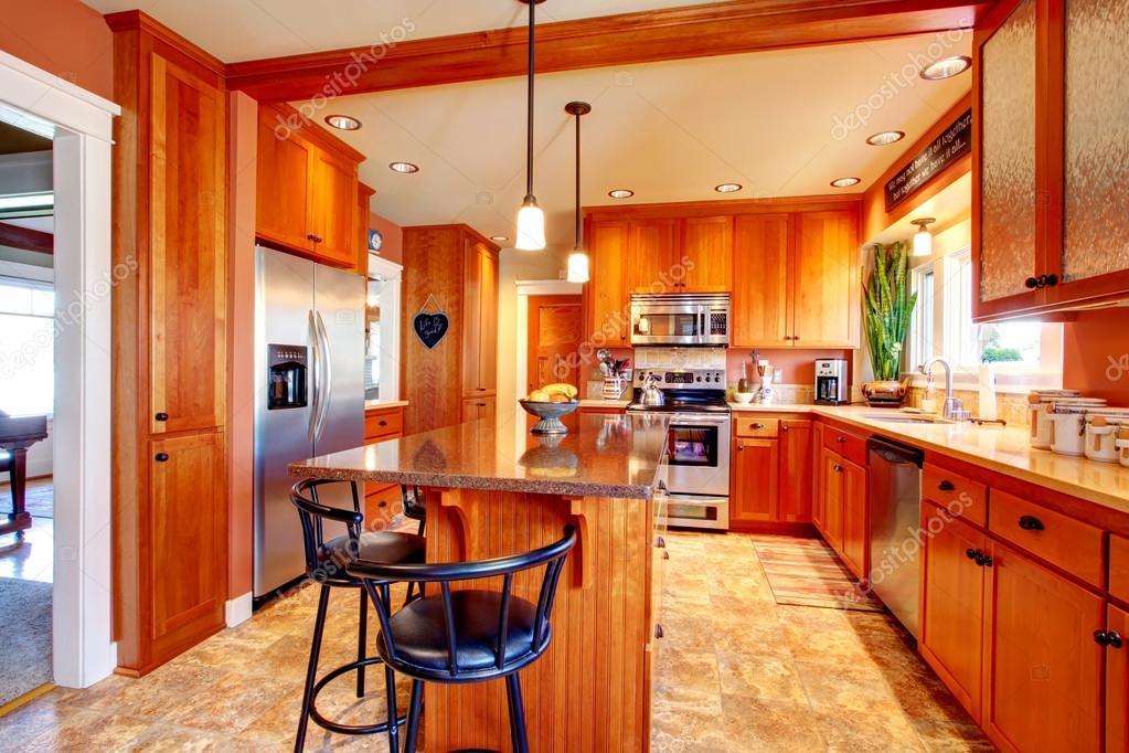 Bright beautiful kitchen room design stock photo for Beautiful kitchen room images