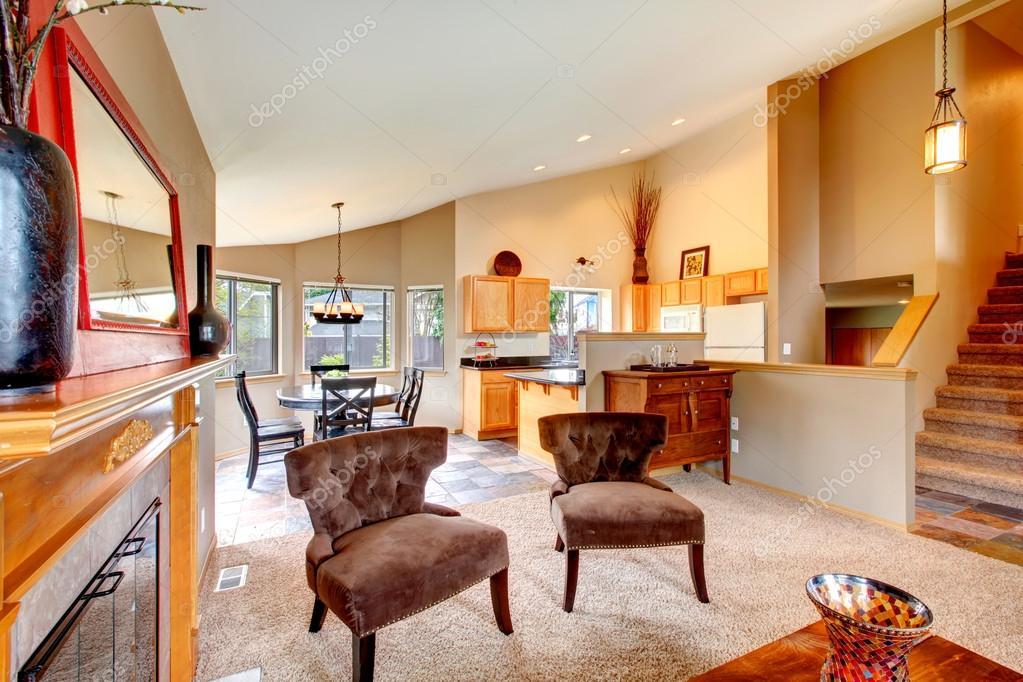 abrir el diseño del plan para la cocina con comedor y sala de estar ...