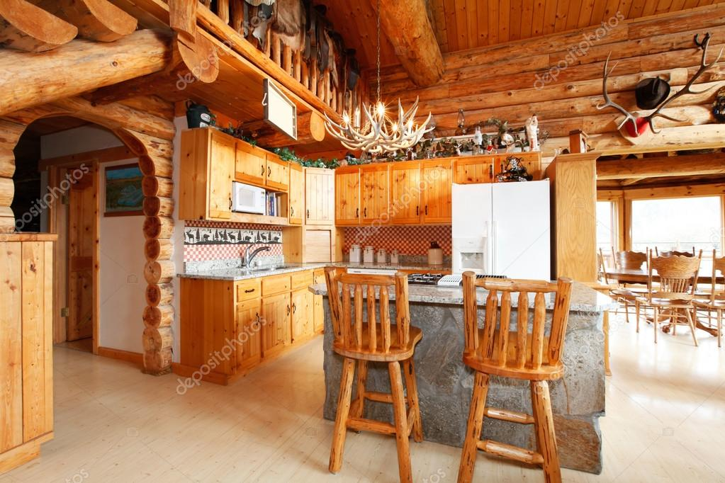 Bright Kitchen Room With Rocky Counter Cabinet Rustic Stools Horn Chandelier Log Cabin House Interior Photo By Iriana88w