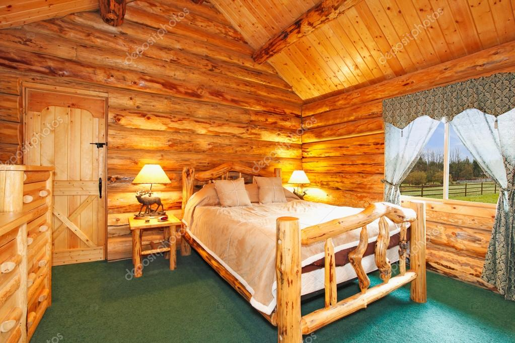Warm Cozy Bedroom With Rustic Bed Nightstand And Dresser Green Carpet Floor Curtains Log Cabin House Interior Photo By Iriana88w