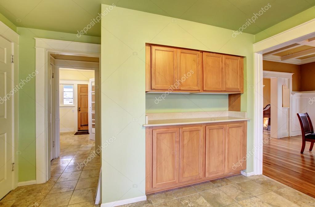 Wbudowane Szafy Drewniane Kuchnia Pokój Zdjęcie Stockowe