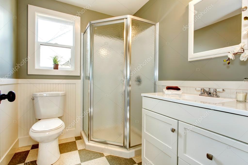 Grande mix di mobili bagno bianco con pareti olivi u2014 foto stock