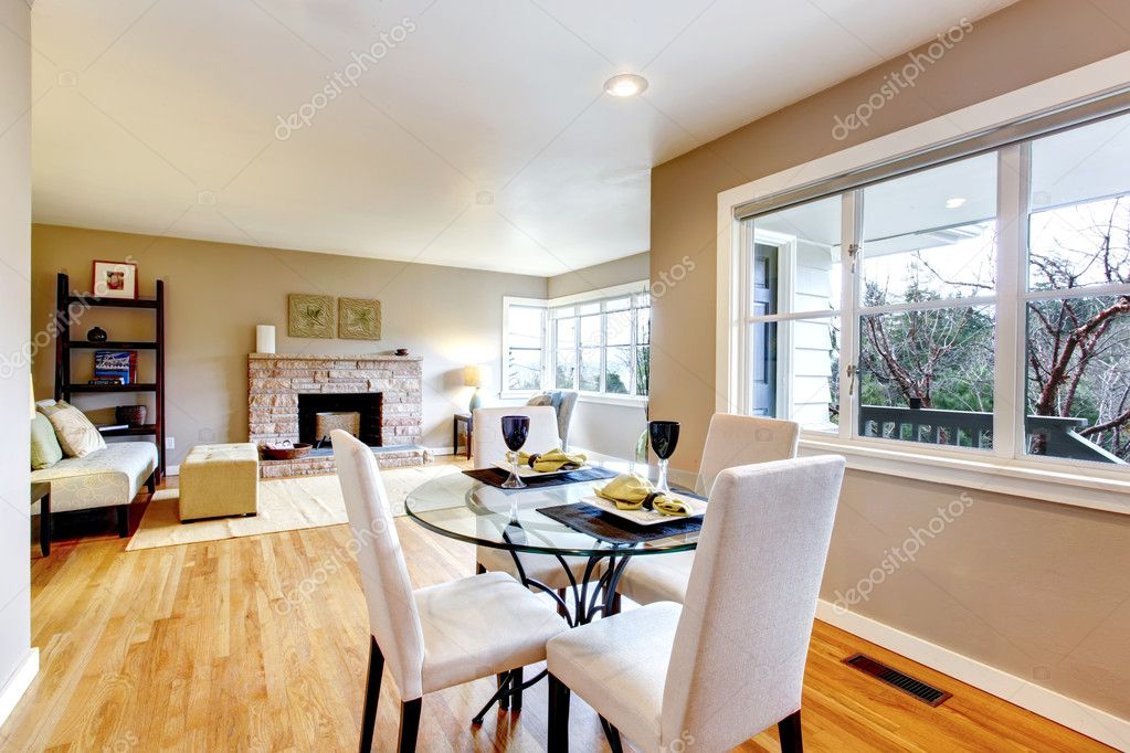 Served Dining Table Bright Area Overlooking Cozy Living Stock Photo