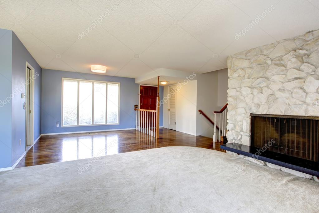 Empty Beautiful Living Room With A Rocky Background Fireplace Stock Photo 42269761