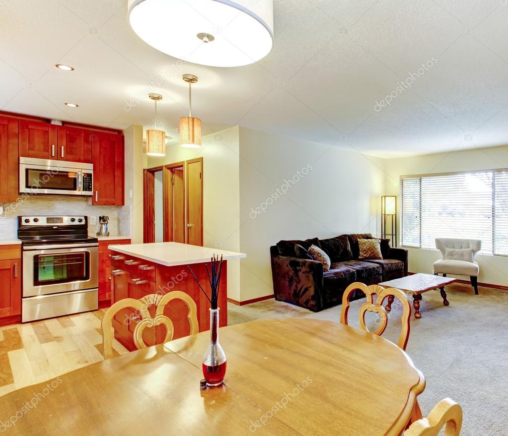 Wohnzimmer Gestaltung. Blick Auf Den Bereich Küche Und Essbereich U2014  Stockfoto