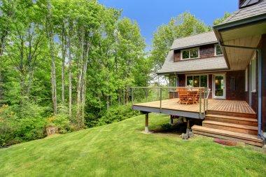 Backyard deck overlooking amazing nature landscape