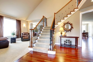 Beautiful staircase with wood and iron railings
