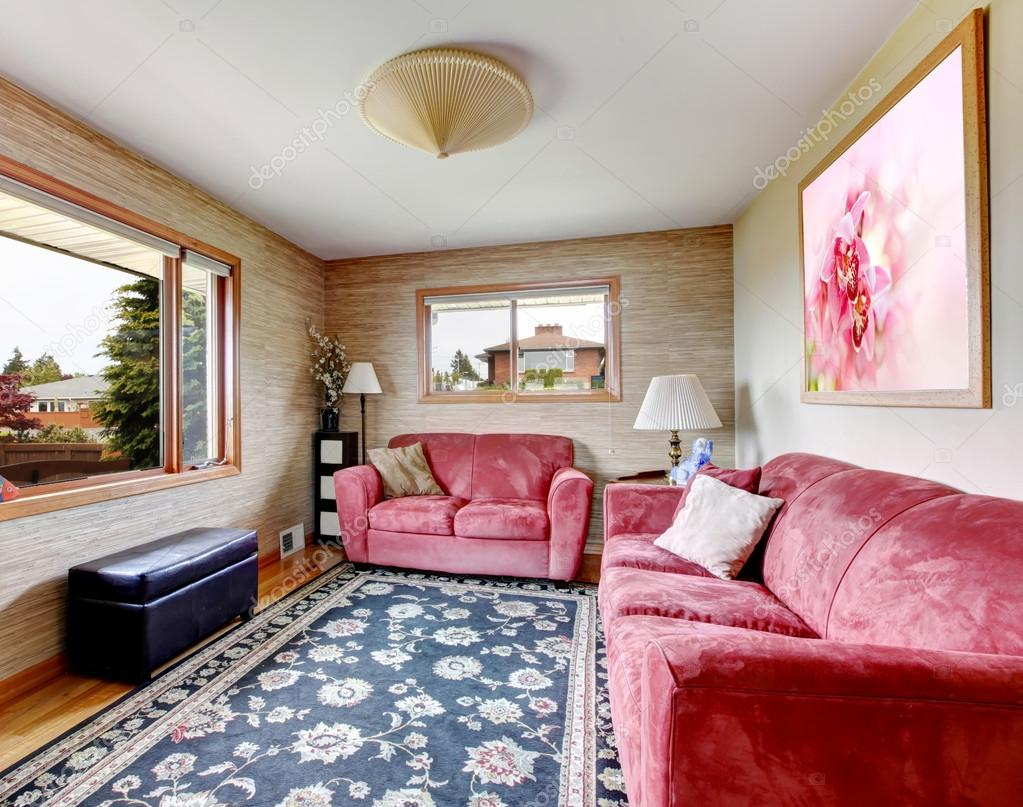 House Interior Red Sofas With Blue Rug Stock Photo C Iriana88w