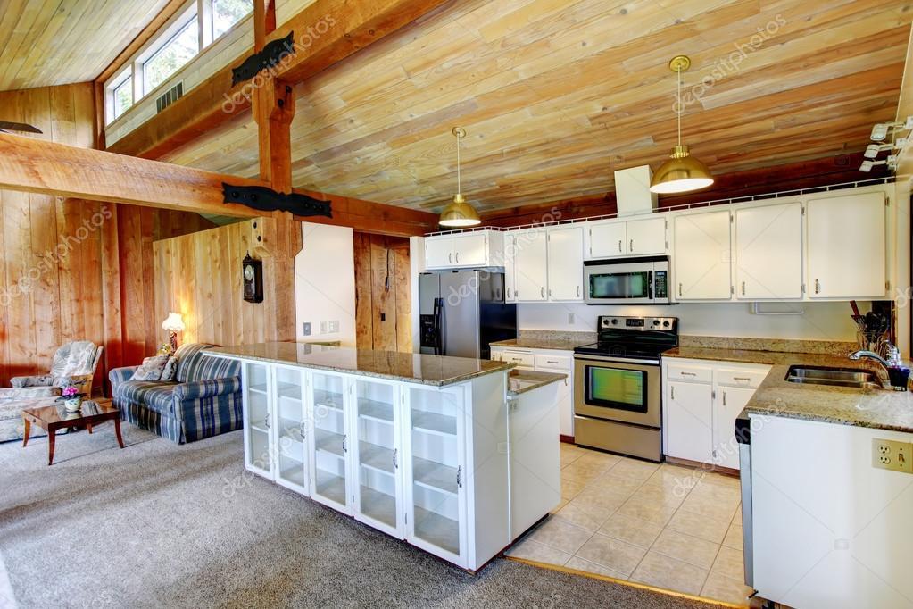 Log Cabin House Interior Kitchen Room Stock Photo