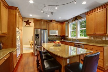 House interior. Elegant kitchen room interior