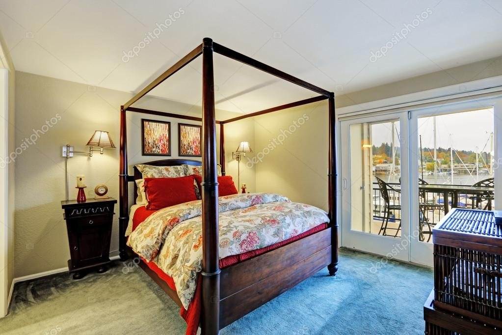 Bedroom Interior With High Pole Bed And Walkout Deck U2014 Photo By Iriana88w